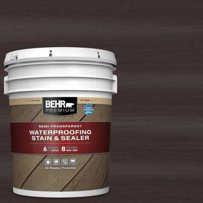 5 gal. #ST-104 Cordovan Brown Semi-Transparent Waterproofing Exterior Wood Stain and Sealer