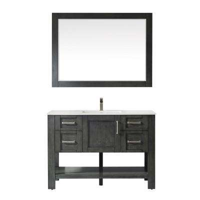 Grayson 48 in. Single Vanity in Rust black with Artificial Fine white stone countertop With Mirror