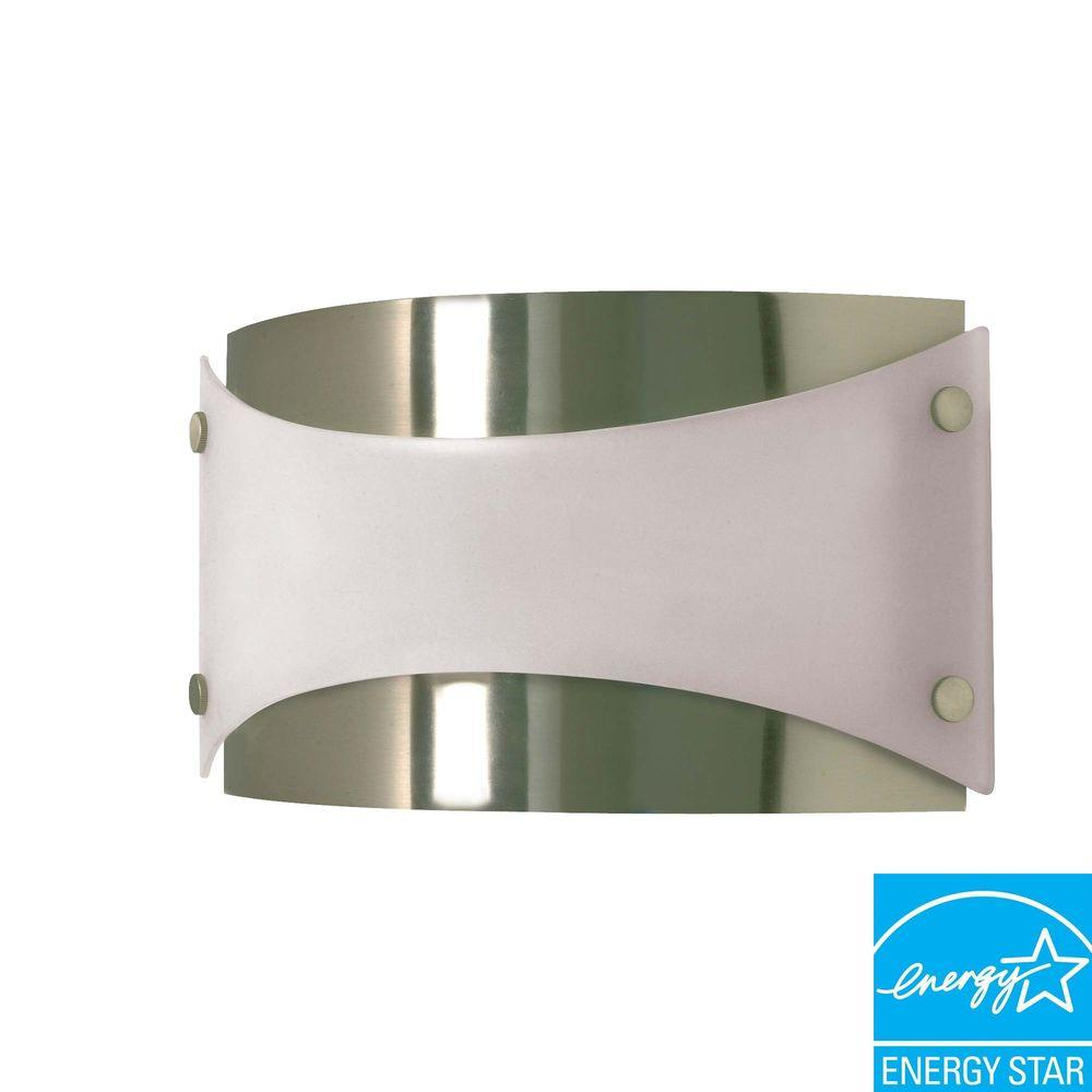 Green Matters 1-Light Brushed Nickel Fluorescent Wall Fixture with 13-Watt Bulb Included