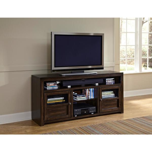 Triumph 64 in. Walnut and Brown Wood TV Stand Fits TVs Up to 70 in. with Storage Doors
