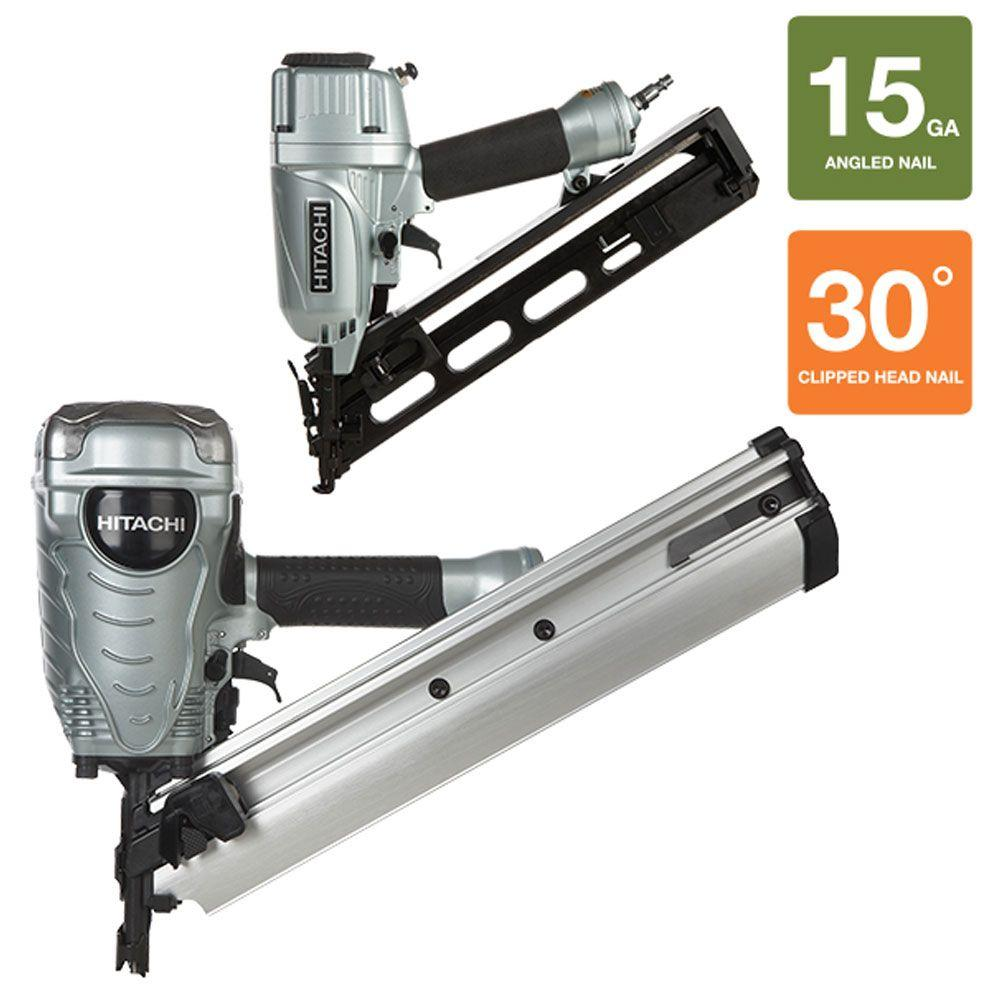 Hitachi 2-Piece 3-1/2 in. Paper Collated Framing Nailer and 15-Gauge x 2-1/2 in. Angled Finish Nailer with Air Duster Kit
