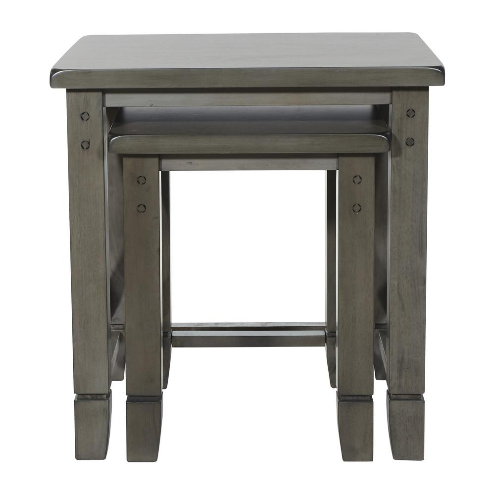 OSP Home Furnishings Hillsboro Grey Wash Nesting Table, Gray Wash OSP Home Furnishings Hillsboro Grey Wash Nesting Table, Gray Wash