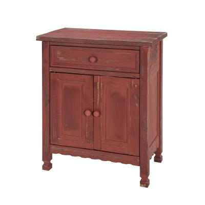 Country Cottage Red Antique Accent Cabinet