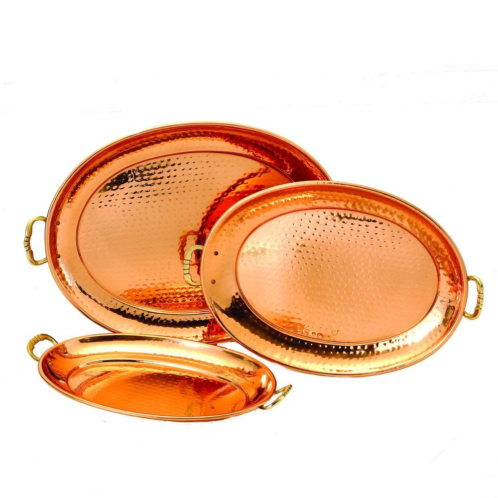 17 in. x 13 in. Decor Copper Oval Trays (Set of