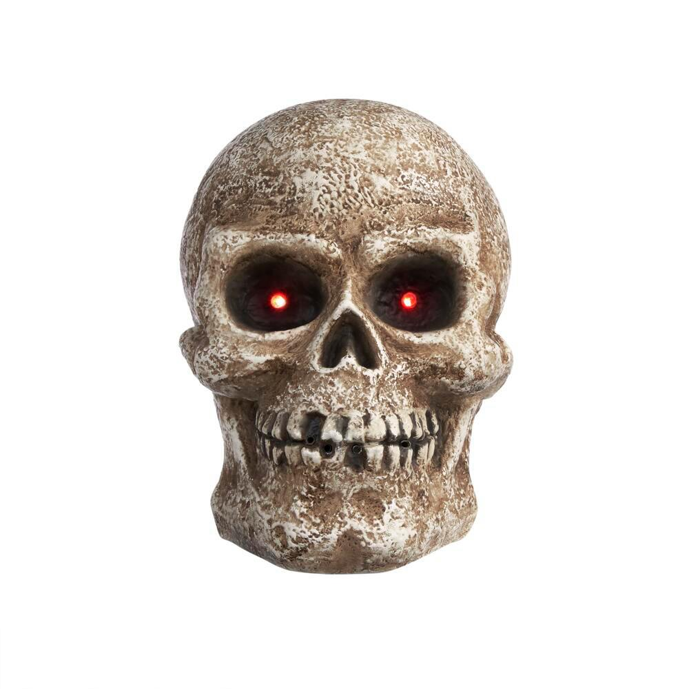 Home Accents Holiday 15 in LED Screaming Halloween Fog Skull