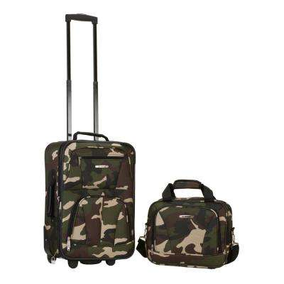 Rockland Rio Expandable 2-Piece Carry On Softside Luggage Set, Camo