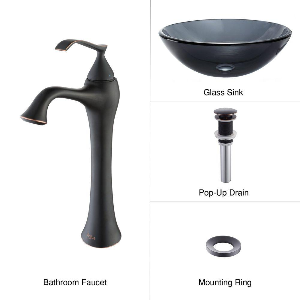 KRAUS Glass Vessel Sink in Black with Ventus Faucet in Oil Rubbed Bronze