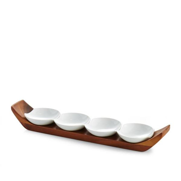 Quatro Porcelain And Acacia Wood Snack And Serve Set by Nambe
