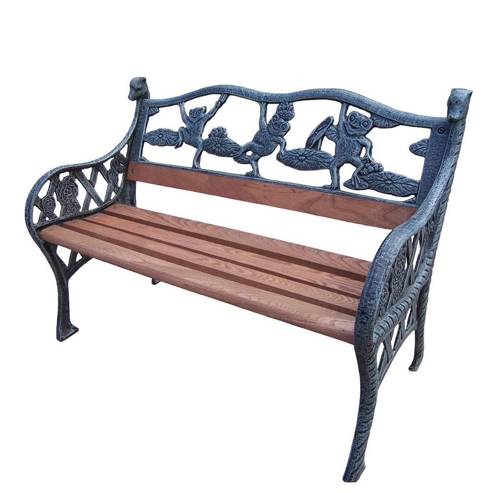 Garden Decorative Bench With Frog Design Hd6009 Vgy The Home Depot