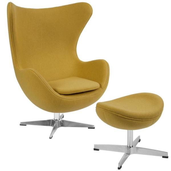 Citron Fabric Chair and Ottoman Set