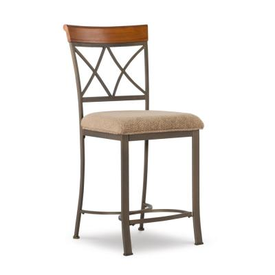 Masson 25 in. Cherry/Pewter/Bronze Counter Stool