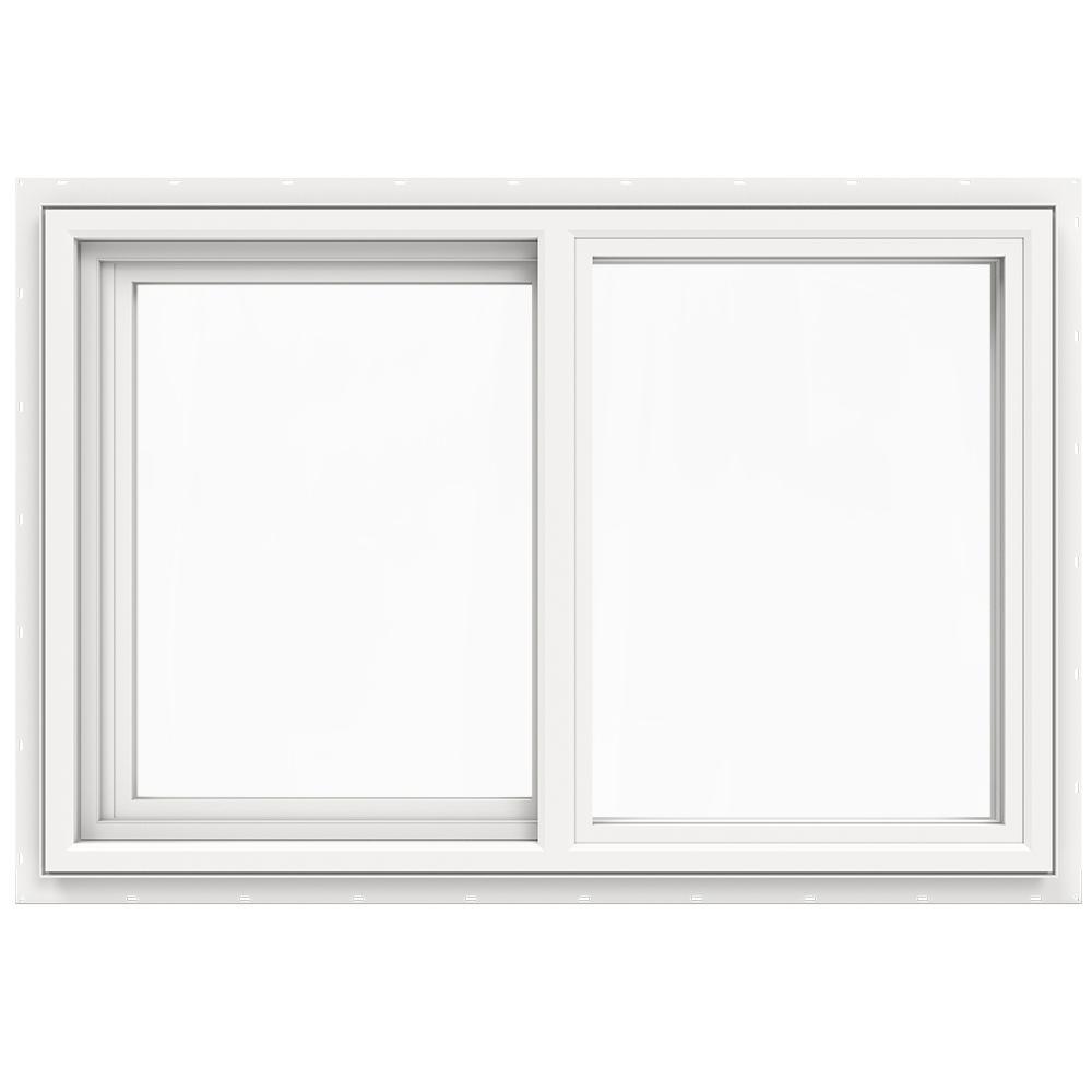 35.5 in. x 23.5 in. V-4500 Series White Vinyl Left-Handed Sliding Window with Fiberglass Mesh Screen