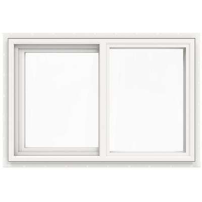 35.5 in. x 23.5 in. V-4500 Series White Vinyl Left-Handed Sliding Window with Fiberglass Mesh Screen