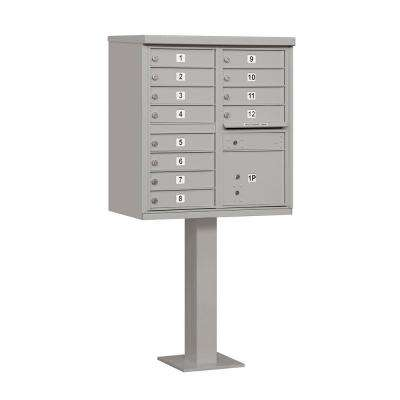 Gray USPS Access Cluster Box Unit with 12 A Size Doors and Pedestal