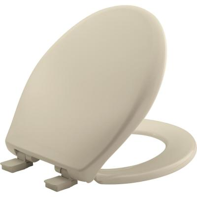 Affinity Never Loosens Slow Close Easy Clean Round Plastic Toilet Seat in Bone