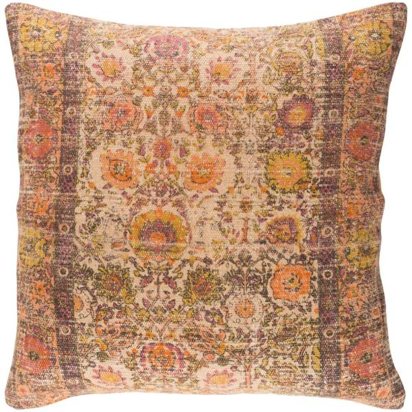 Milliner Orange Floral Polyester 22 in. x 22 in. Throw Pillow
