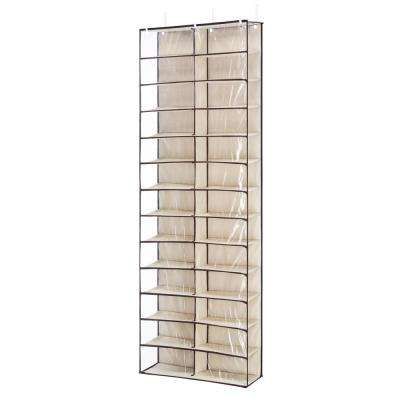 26-Pair Over-The-Door Shoe Organizer in Beige