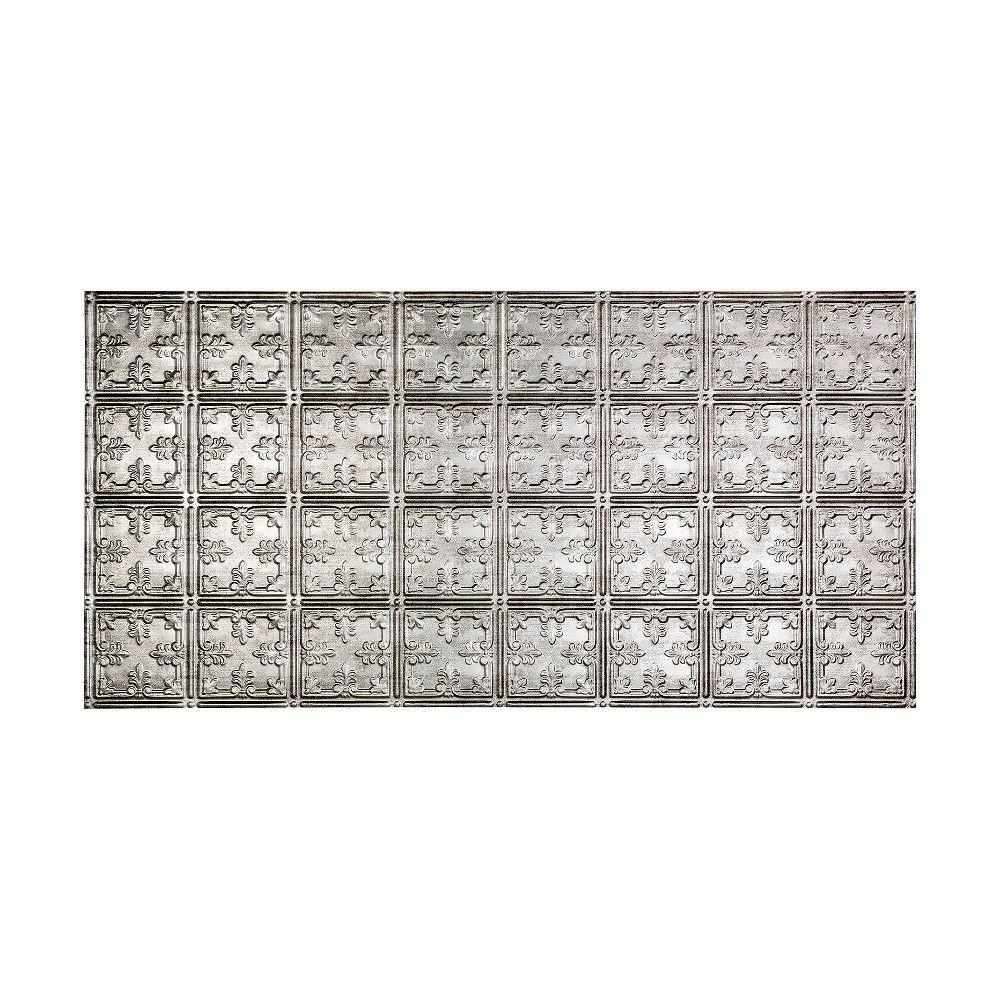 Fasade Traditional Style # 10 - 2 ft. x 4 ft. Vinyl Glue-Up Ceiling Tile in Crosshatch Silver