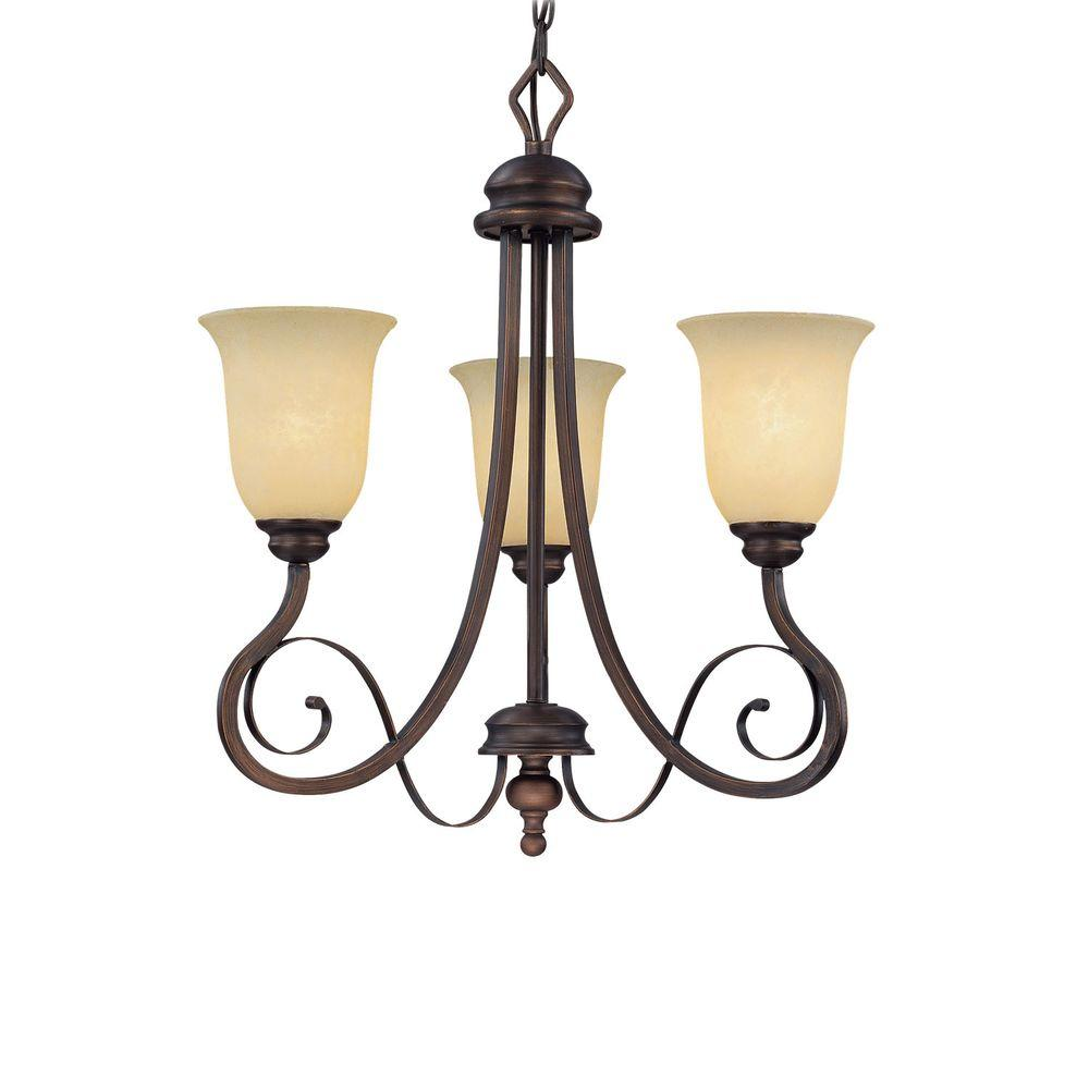 Millennium Lighting 3-Light Rubbed Bronze Chandelier with Turinian Scavo Glass