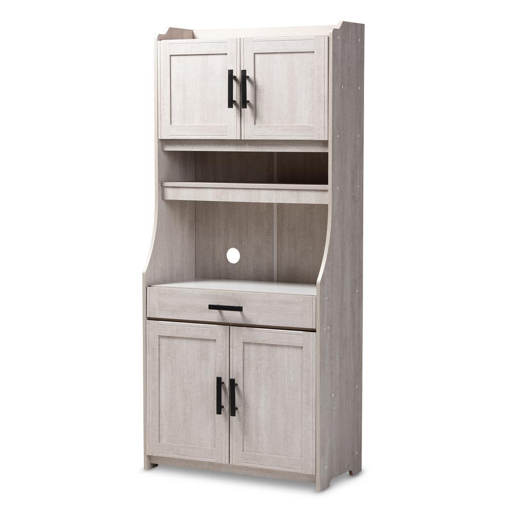 Baxton Studio Portia White Washed China Cabinet With