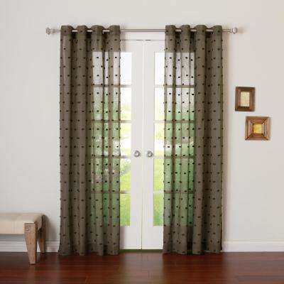 96 in. L Chocolate Linen Look Clip Jacquard Curtain (2-Pack)