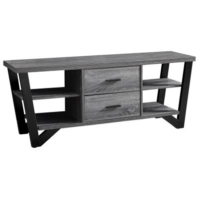 White TV Stand with Black Metal