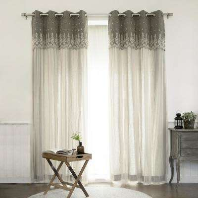 84 in. L Polyester Grace Lace Overlay Curtains in Brown (2-Pack)