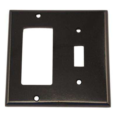 2-Gang Standard Size 1-Toggle 1-Decora Plastic Combination Wall Plate, Black