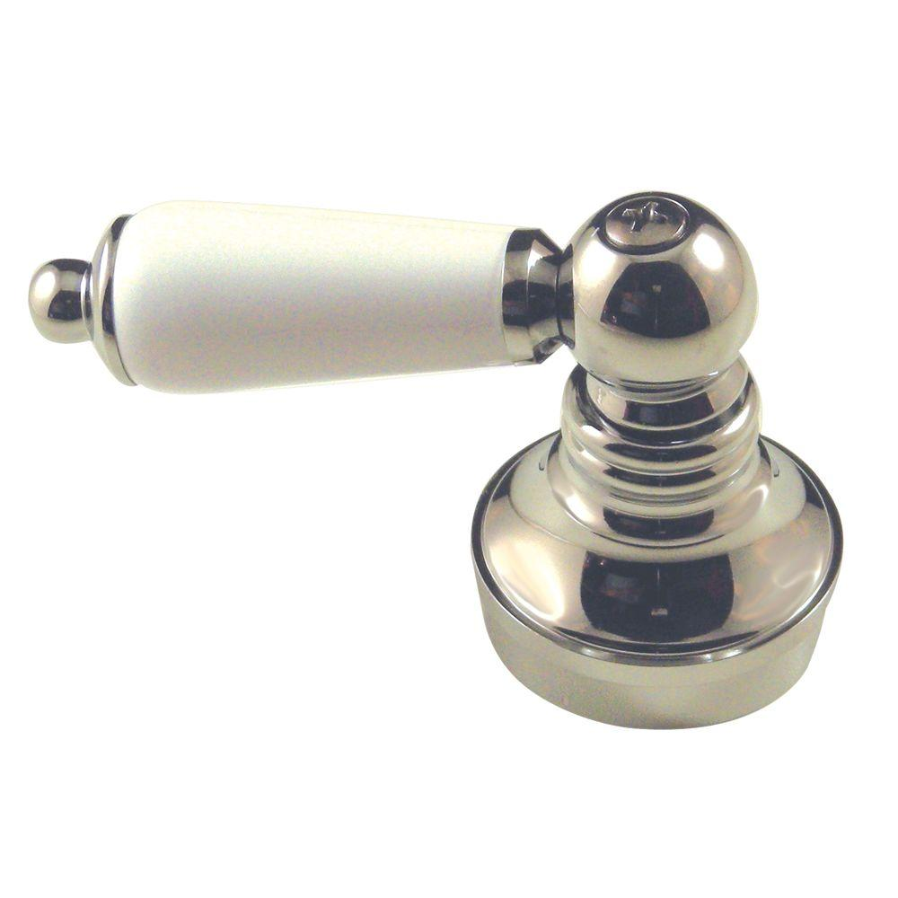Lever-Style Faucet Handle in Chrome and Porcelain
