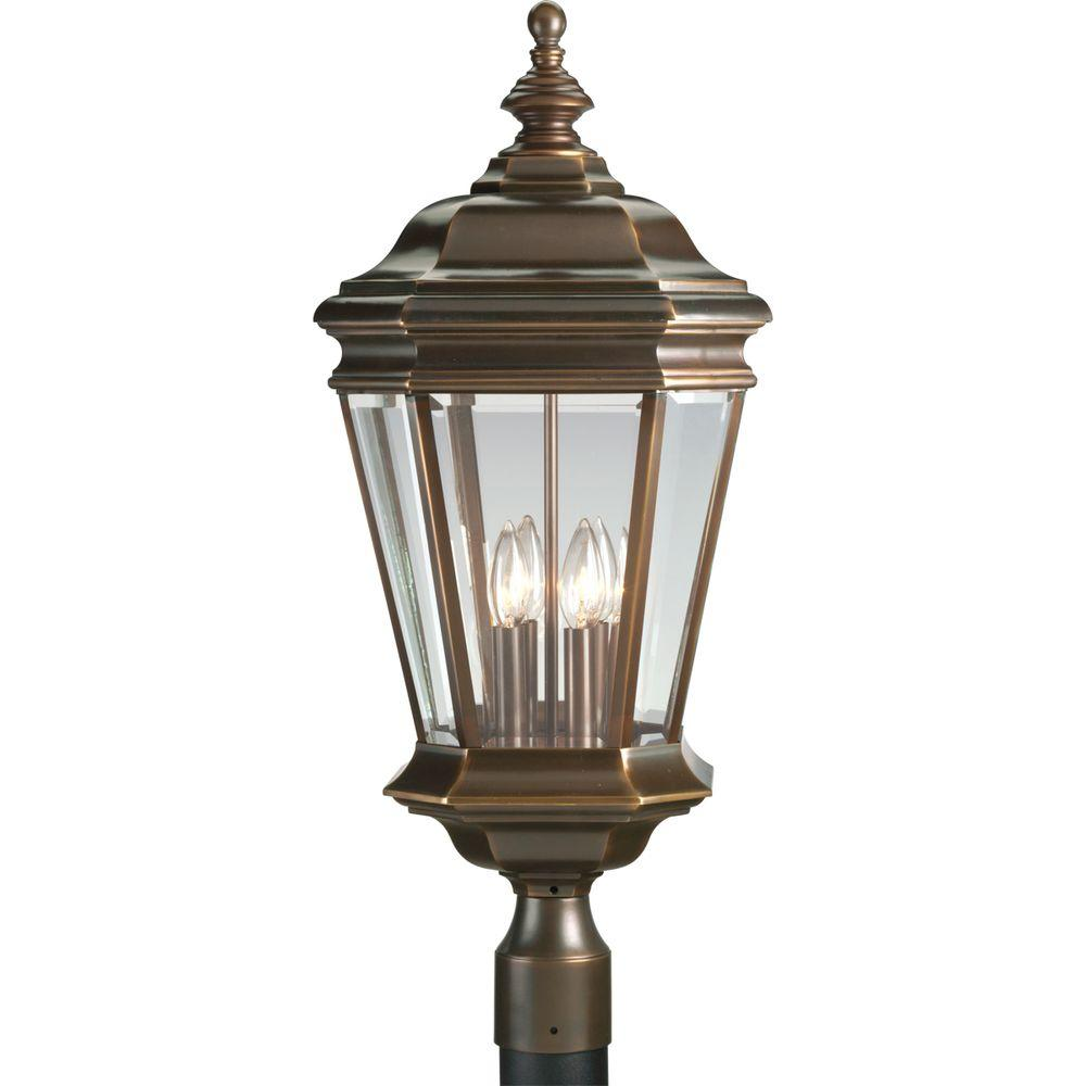 Crawford Collection Oil Rubbed Bronze 4-Light Outdoor Post Lantern