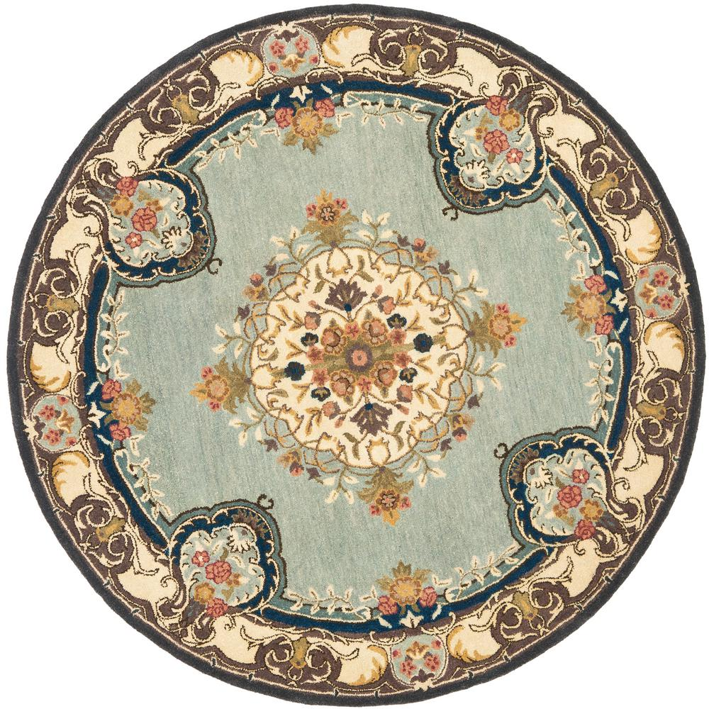 safavieh bergama light blue ivory 4 ft x 4 ft round area rug brg141a 4r the home depot. Black Bedroom Furniture Sets. Home Design Ideas