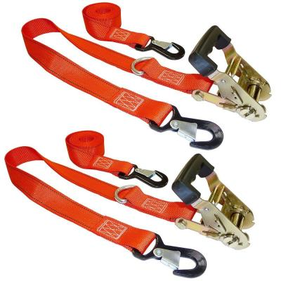 8 ft. x 1.5 in. Ratchet Buckled Strap with Soft Tie (2-Pack)