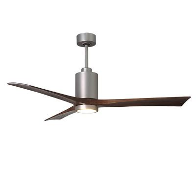 Patricia 60 in. LED Indoor/Outdoor Damp Brushed Nickel Ceiling Fan with Remote Control, Wall Control
