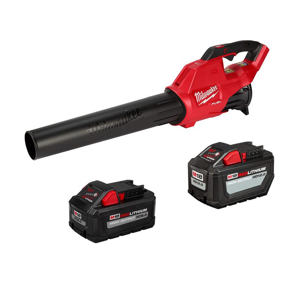 Milwaukee M18 FUEL 120 MPH 450 CFM 18-Volt Lithium-Ion Brushless Cordless Handheld Blower with 12 Ah and 8 Ah Batteries