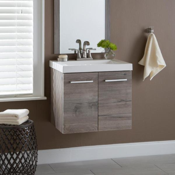 Domani Stella 24 In W X 19 In D Wall Hung Bath Vanity In White Washed Oak With Cultured Marble Vanity Top In White With Sink Sl24p2 Wo The Home Depot