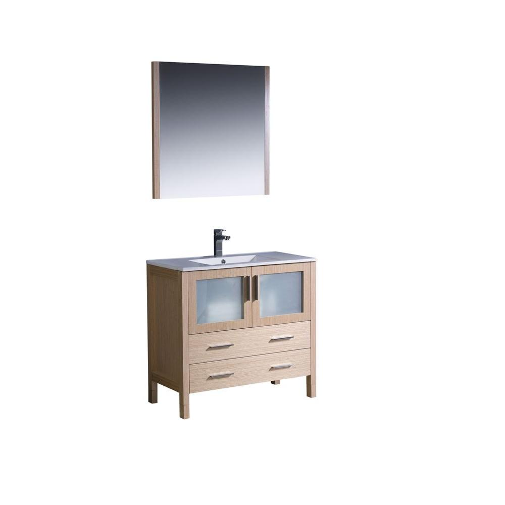 Fresca Torino In Vanity In Light Oak With Ceramic Vanity Top In - Fresca cristallino glass bathroom vanity
