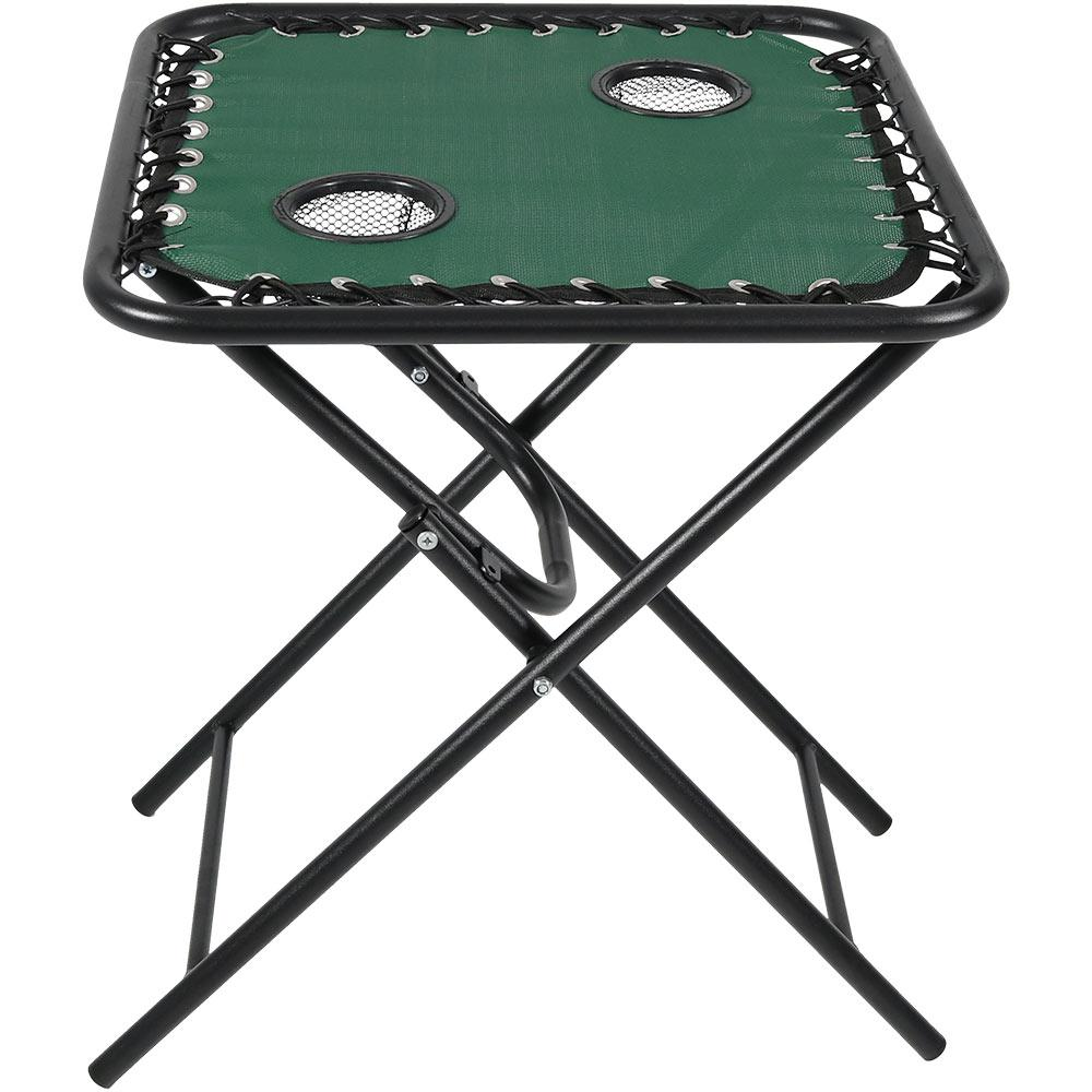Forest Green Folding Outdoor Sling Side Table With Drink Holders