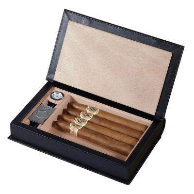 Folio Black Leather Travel/Desktop Humidor Set