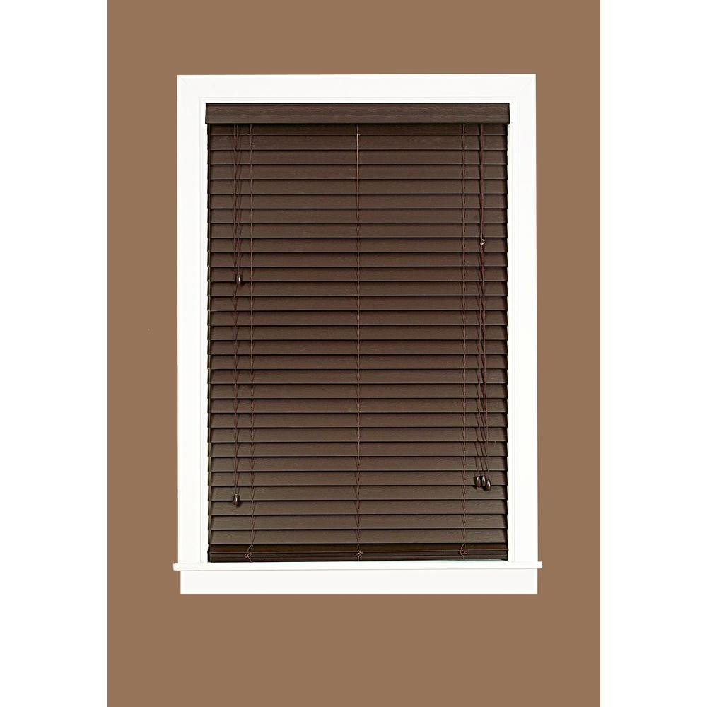 Madera Falsa Mahogany 2 in. Faux Wood Plantation Blind - 23 in. W x 64 in. L (Actual Size 22.5 in. W 64 in. L )