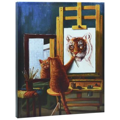 """""""Norman Catwell"""" Graphic Art Print on Wrapped Canvas Cat Wall Art"""