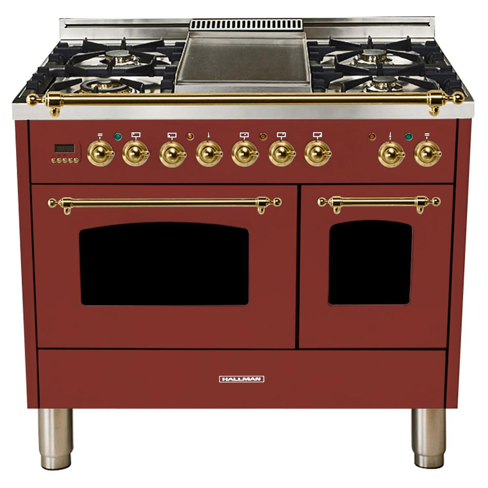 Hallman 40 in. 4.0 cu. ft. Double Oven Dual Fuel Italian Range with True Convection, 5 Burners, Griddle, Brass Trim in Burgundy