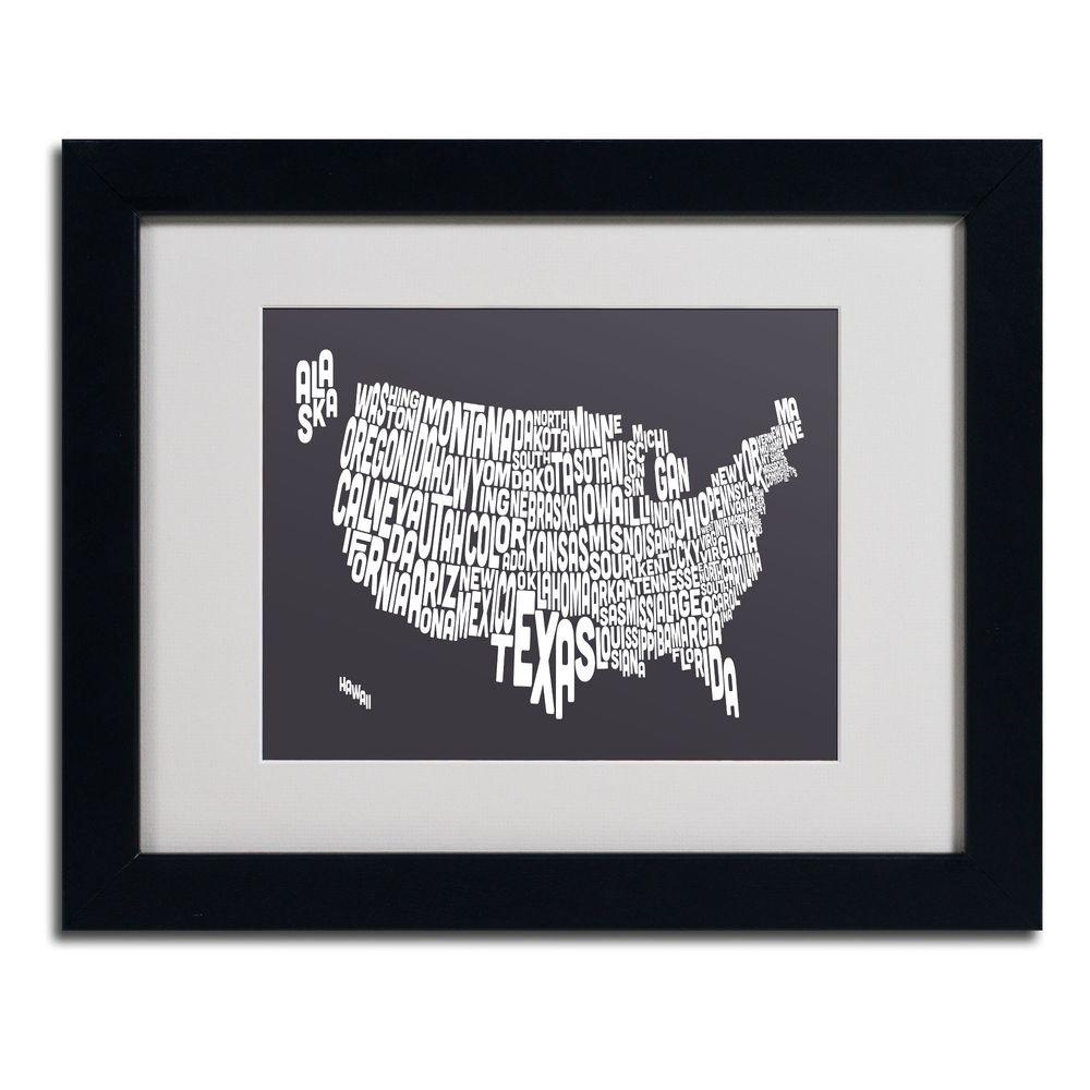 11 in. x 14 in. USA States Text Map - Charcoal