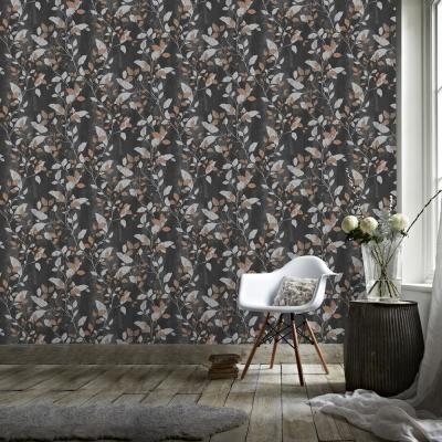 Vermeil Leaf Black, Silver and Copper Removable Wallpaper