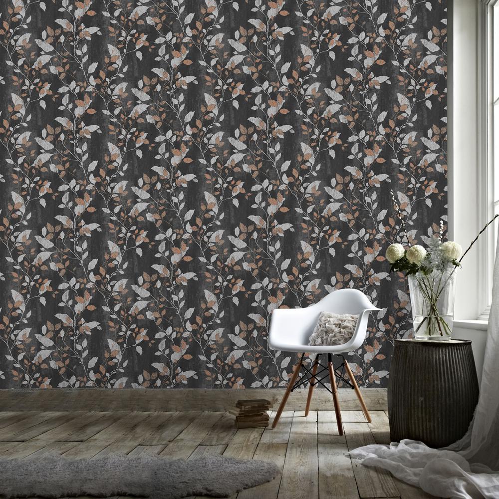 Vermeil Leaf Black, Silver and Copper Removable Wallpaper