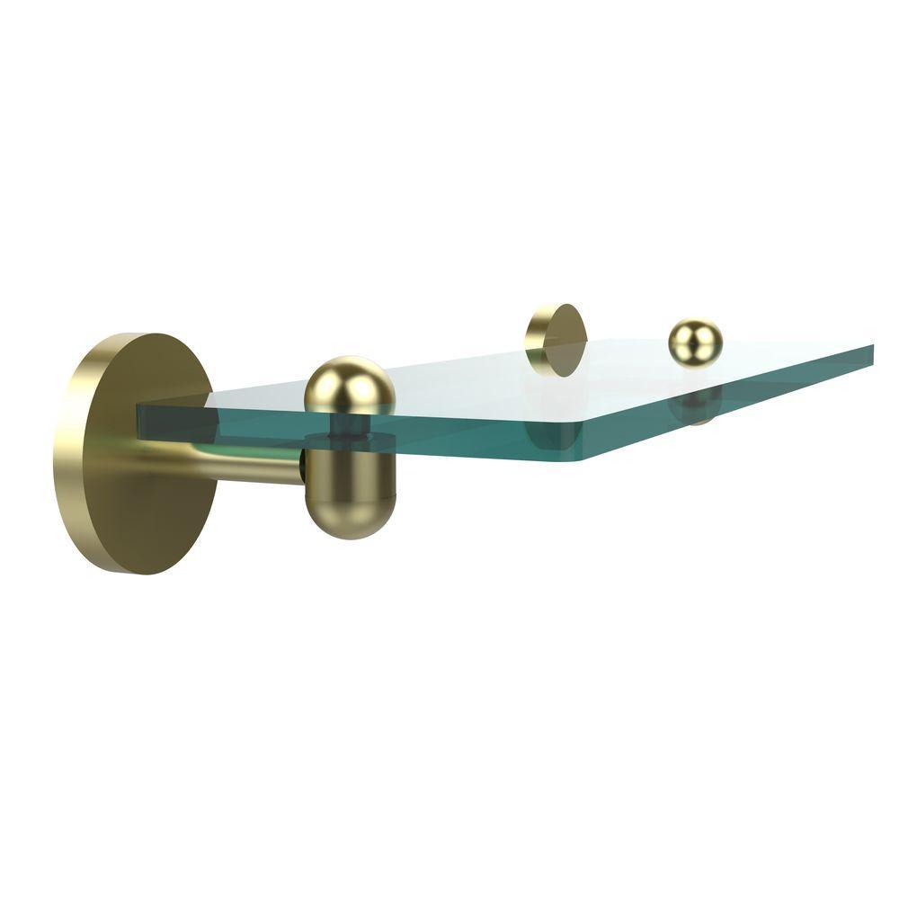 Tango 16 in. L x 2.75 in. H x 5 in. W Clear Glass Vanity Bathroom Shelf in Satin Brass