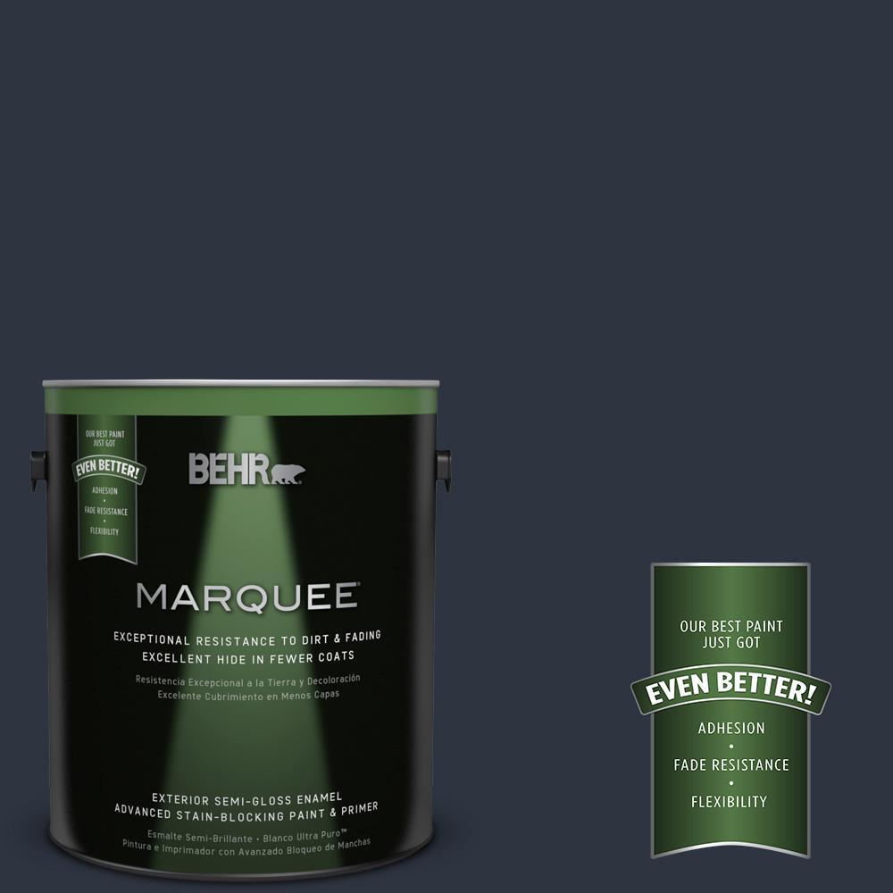 BEHR MARQUEE 1-gal. #ECC-23-3 Blackbird Semi-Gloss Enamel Exterior Paint