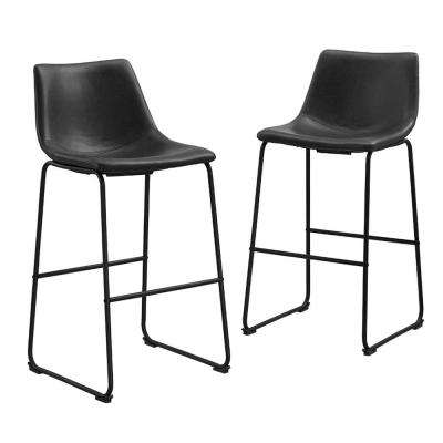 28 in. Black Faux Leather Bar Stools (Set of 2)