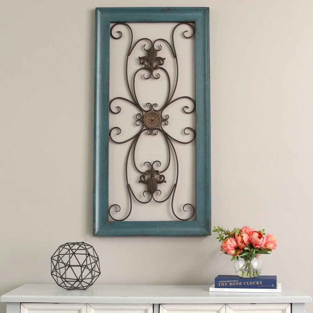 Blue Scroll Gate Metal Wall Decor
