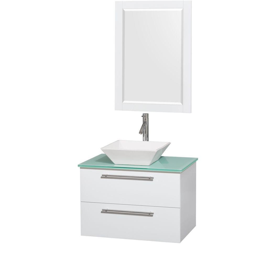 Amare 30 in. Vanity in Glossy White with Glass Vanity Top