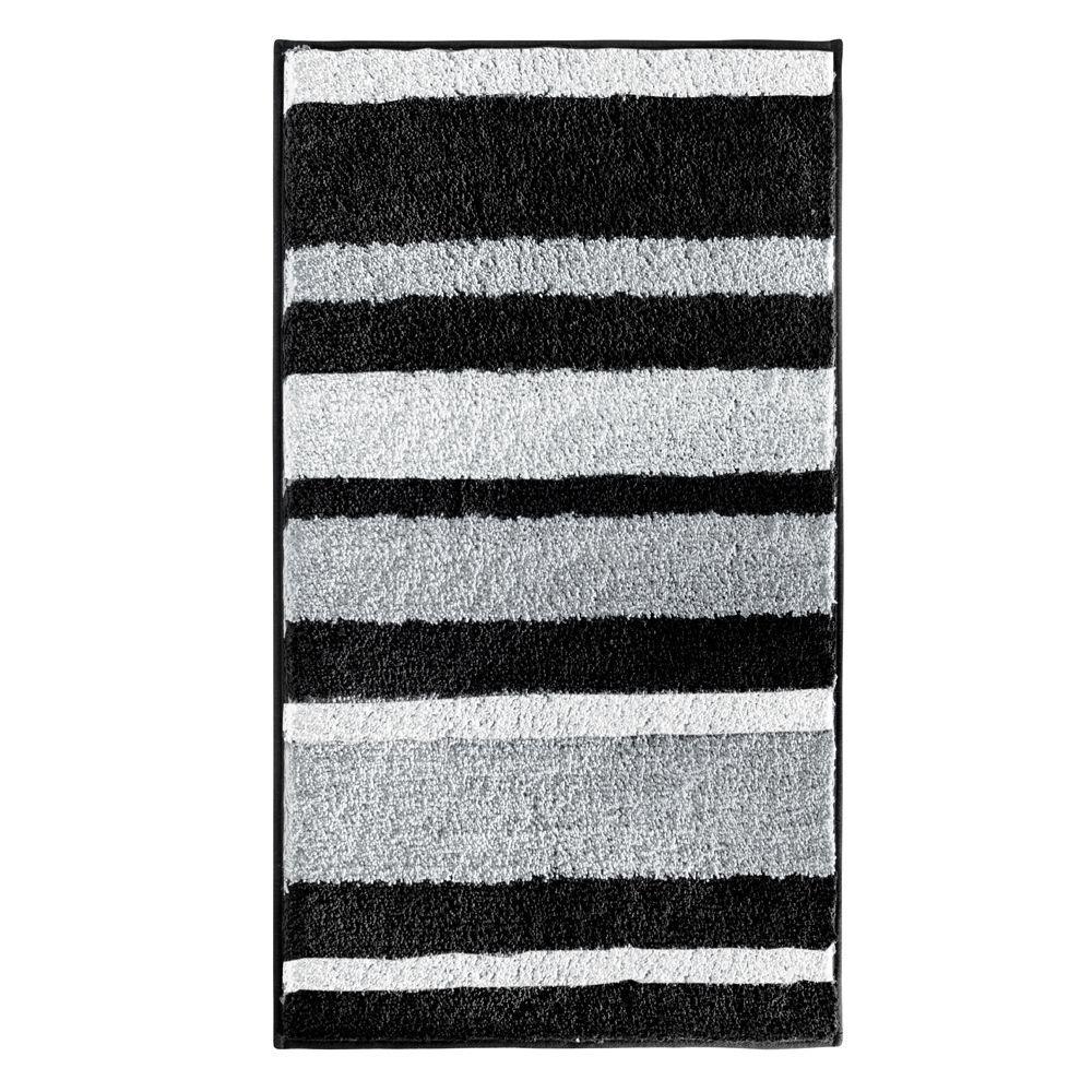 interDesign Stripz 34 inch x 21 inch Bath Rug in Black/Gray by interDesign